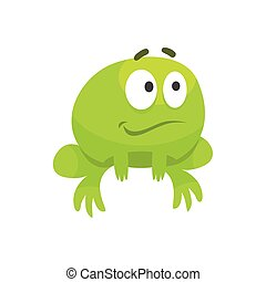 Smiling Hopeful Big-Eyed Green Frog Funny Character Childish...