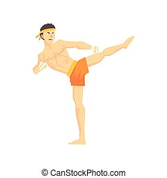 Guy In Shorts Karate Martial Arts Fighter, Fighting Sports Professional In Traditional Fighting Sportive Clothing