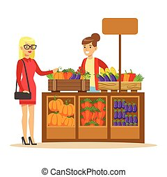 Woman Buying Fresh Vegetables From Farmer Working At The Farm And Selling On Natural Organic Product Market