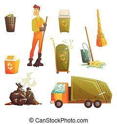 Waste Recycling And Disposal Related Object Around Garbage...