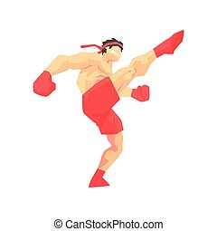 Man In Red Shorts And Gloves Thai Boxing Martial Arts...