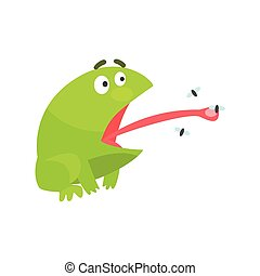 Green Frog Funny Character Catching Flies With Its Tongue...