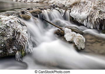 Long exposure stream in winter