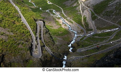 aerial view of world famous mountain road Trollstigen