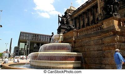 Prague Wenceslas Square Fontain 23