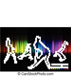 silhouette of dancing girl and man on colorful back