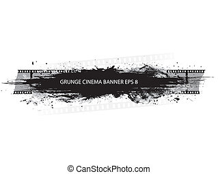 Grunge cinema banner with splash in black and white design