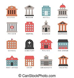 Vector government building colored icons. Municipal city...