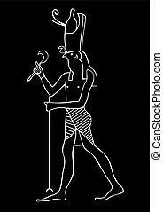 Horus - God of Ancient Egypt - Illustration of the Horus -...