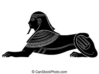 Sphinx - mythical creature of ancient Egypt on white...