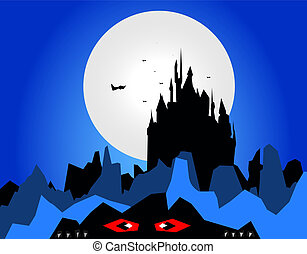 Dark castle silhouette with moon and monster and flying bats