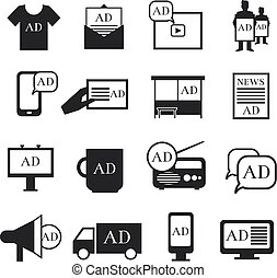 Advertisment media icons. Advertising ribbon and print...