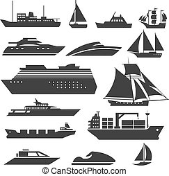 Ships and boats icons. Barge, cruise ship, shipping fishing...