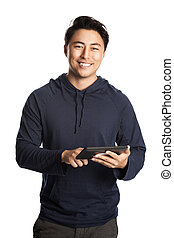 Smiling man with digital reader - Attractive mature man...