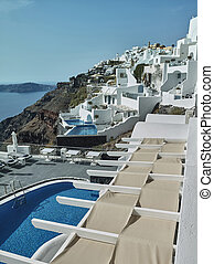 Landscape of Santorini Island, Fira, Cyclades, Greece - The...