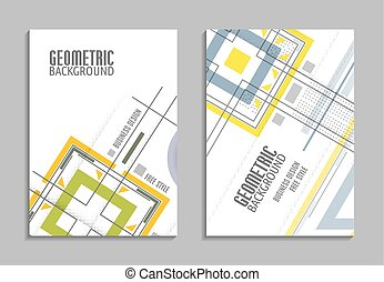 Set of business card. Abstract geometric design, brochure title sheet, reative text frame surface, EPS10. Vector flyer template design. For business brochure, leaflet or magazine cover