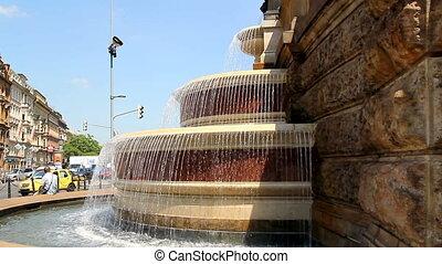 Prague Wenceslas Square Fontain 26 - PRAGUE - June 6, 2010:...