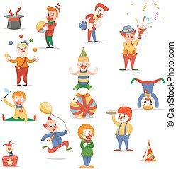 lindo, diferente, Conjunto, divertido, posiciones, iconos, circo, carácter, Ilustración,  vector, diseño, acciones, payasos, caricatura,  Retro