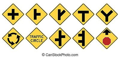 Road signs in the United States. W2 Series: Intersections....