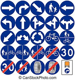 Road signs in Poland. Mandatory signs. Vector Format