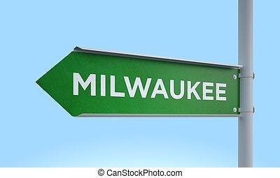 Green signpost milwaukee - 3d rendering Green signpost