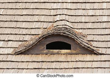 ventana, caña, techo, estrabismo