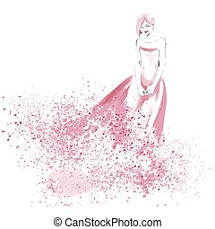 Watercolor fashion illustration with beautiful girl -...
