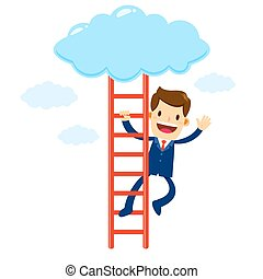 Businessman Climbing Stair Into The Cloud - Vector stock of...