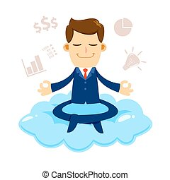 Businessman Meditating On a Cloud With Financial Symbols...