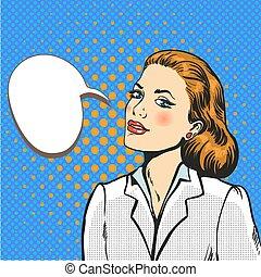 Business woman pop art comic vector - Business woman pop art...