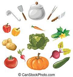 Kollektion, grönsaken, isolerat, Besegrar, Kök