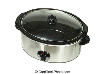 slow cooker under the white background