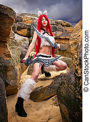 Beautiful female character with two swords near the big...