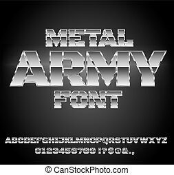 Retro Future Font - Military Army Sci-Fi Movies Style Chrome...