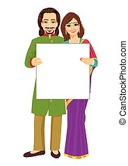 Indian couple holding empty blank board over white...