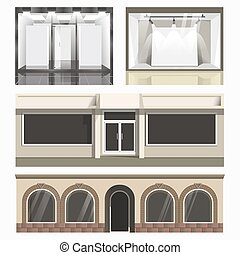 Icons set of showcases stores. Vector glass cases of shops,...