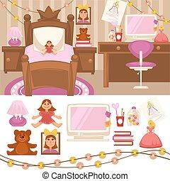 Girls room bedroom Set of furniture for girls. Design of...