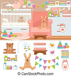 Nursery and childhood bedroom interior. Baby room with...