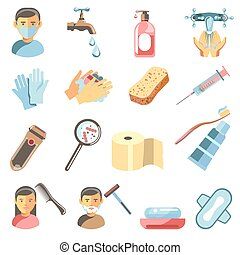 Icons set of hygiene and sanitary. - Vector symbols of...