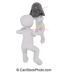 3d toons fighting with light sabres - Two 3d toons fighting...