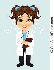 cute little girl wearing laboratory coat writing notes