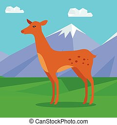 Fawn on Lawn in Mountains. Young Deer - Fawn on the lawn in...