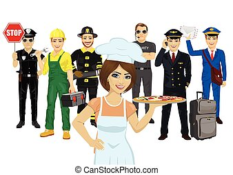 Set of diverse people. Various professions. Policeman, chef, repairman, fireman, bodyguard, pilot, courier