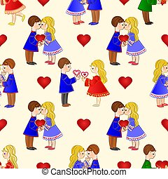 Seamless texture Valentines Day various  figure Kids and hearts vector.eps