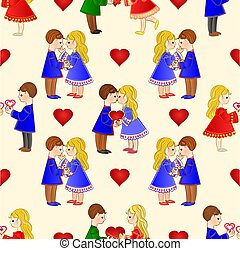 Seamless texture Valentines Day Cute  figure Kids and hearts vector.eps