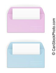 Pink and blue envelopes - Paper or cardboard envelope pink...