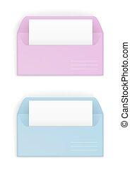 Pink and blue envelopes - Paper or cardboard envelope pink...