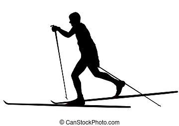 skier - vector illustration of skier under the white...