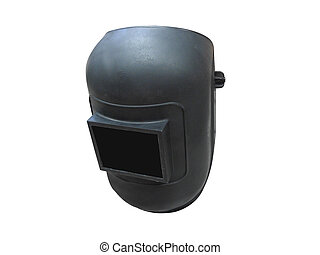 a black welding mask under the white background