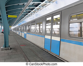 metro train - The image of metro train stands on the station